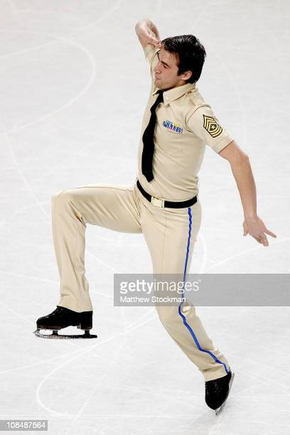 Ryan Bradley finishes his routine while competing in the Championship Men Short Program during the US Figure Skating Championships at the Greensboro...