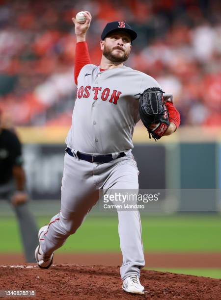 Ryan Brasier of the Boston Red Sox pitches against the Houston Astros in the fifth inning during Game One of the American League Championship Series...