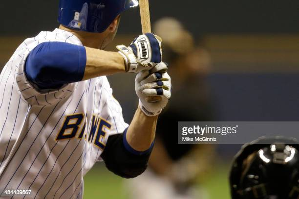 Ryan Braun Milwaukee Brewers in his Franklin Batting Gloves during the game against the Pittsburgh Pirates at Miller Park on April 11, 2014 in...