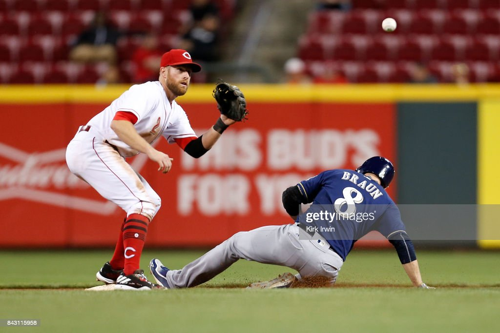 Ryan Braun #8 of the Milwaukee Brewers beats the throw to Zack Cozart #2 of the Cincinnati Reds to steal second base during the eighth inning at Great American Ball Park on September 5, 2017 in Cincinnati, Ohio. Cincinnati defeated Milwuakee 9-3.