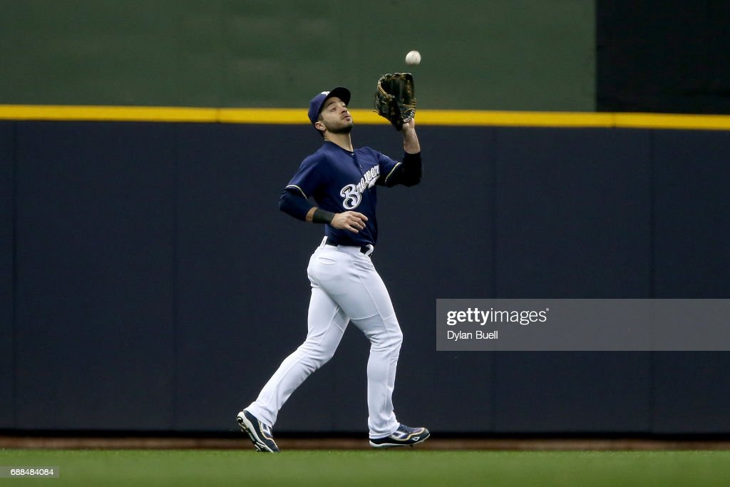 Ryan Braun #8 of the Milwaukee Brewers catches a fly ball in the third inning against the Arizona Diamondbacks at Miller Park on May 25, 2017 in Milwaukee, Wisconsin.