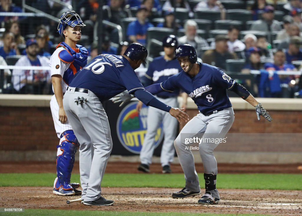 Ryan Braun #8 of the Milwaukee Brewers celebrates his two run home run against the New York Mets in the sixth inning during their game at Citi Field on April 13, 2018 in New York City.