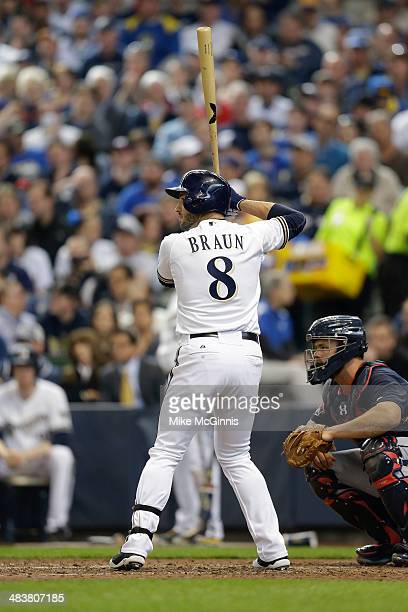 Ryan Braun of the Milwaukee Brewers gets ready for the next pitch against the Atlanta Braves during Opening Day at Miller Park on March 31, 2014 in...
