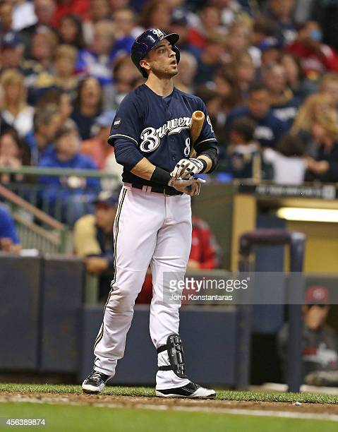 Ryan Braun of the Milwaukee Brewers gets ready to bat during the fifth inning of their game against the Cincinnati Reds on September 13 2014 at...