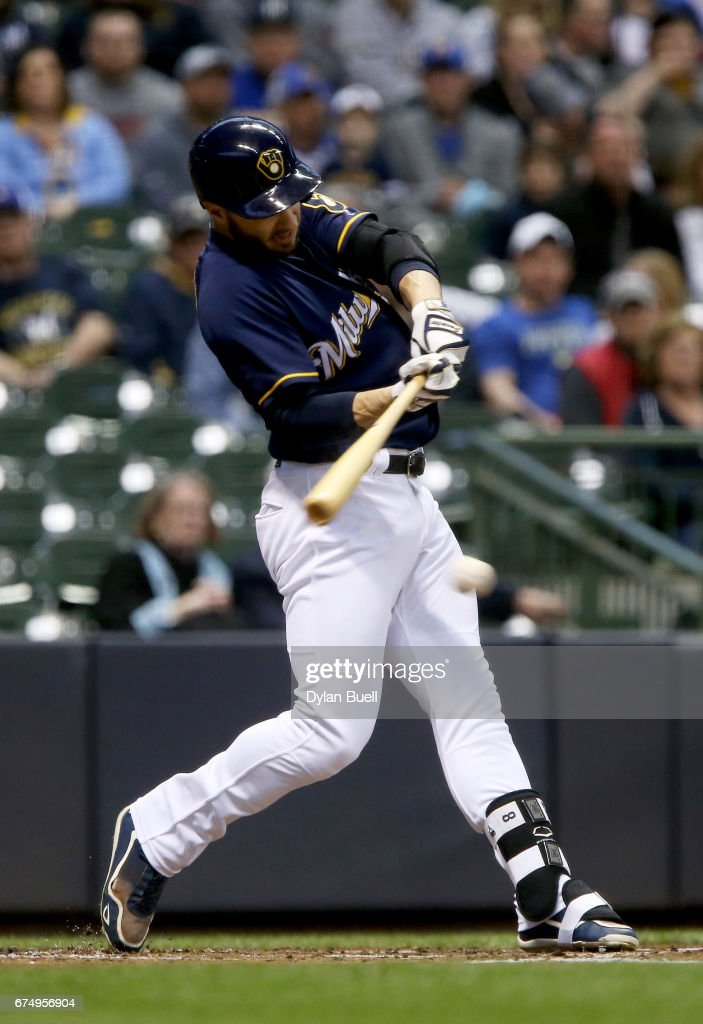 Ryan Braun #8 of the Milwaukee Brewers grounds into a fielder's choice in the first inning against the Atlanta Braves at Miller Park on April 29, 2017 in Milwaukee, Wisconsin.