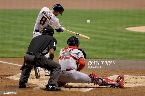 Ryan Braun of the Milwaukee Brewers hits a home run in the first inning against the St. Louis Cardinals during game two of a doubleheader at Miller...