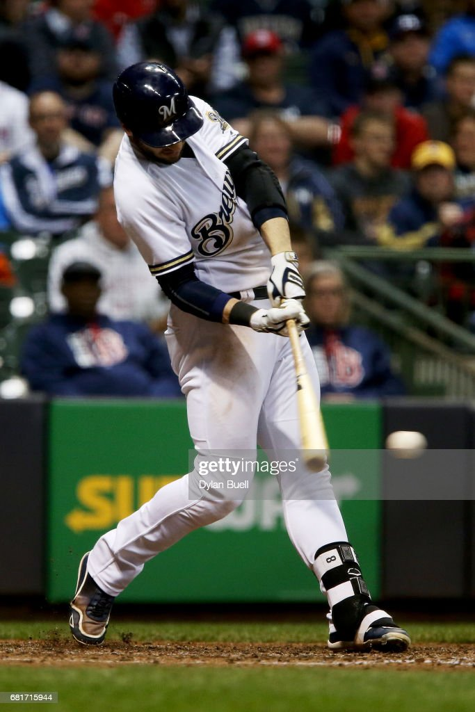 Ryan Braun #8 of the Milwaukee Brewers hits a single in the fifth inning against the Boston Red Sox at Miller Park on May 10, 2017 in Milwaukee, Wisconsin.