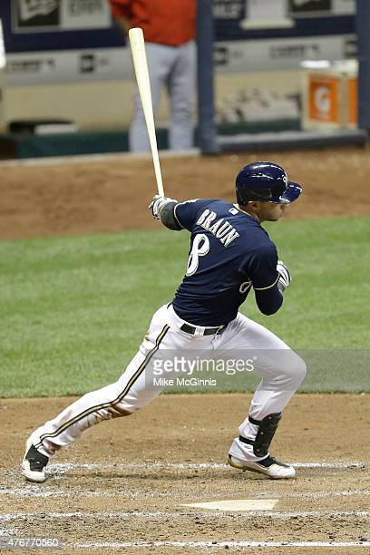 Ryan Braun of the Milwaukee Brewers hits a single in the fourth inning against the Washington Nationals at Miller Park on June 11, 2015 in Milwaukee,...