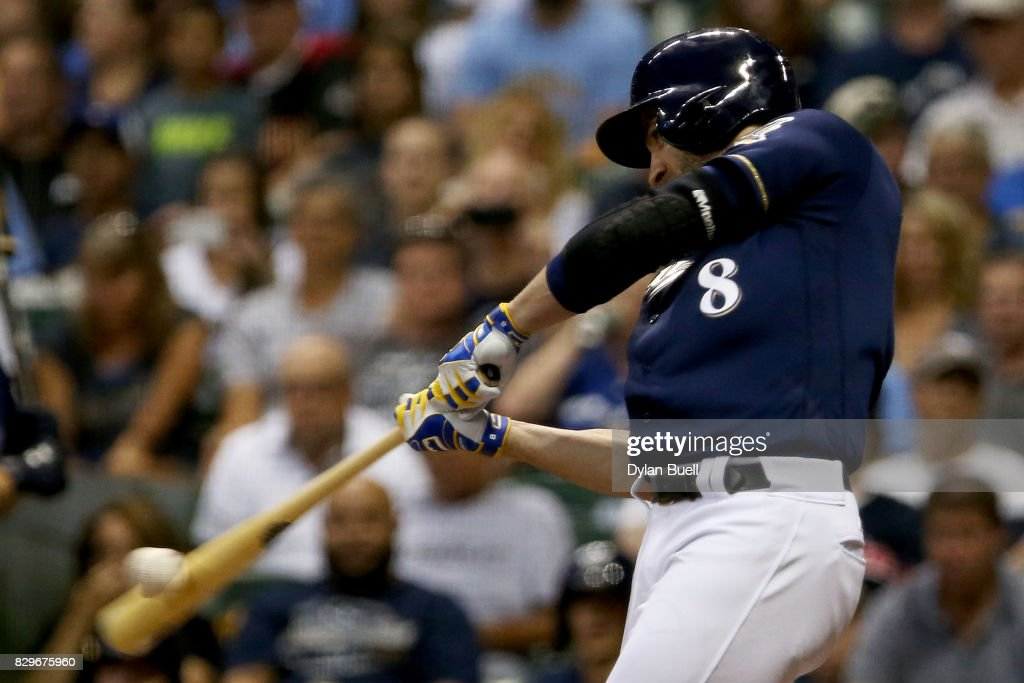 Ryan Braun #8 of the Milwaukee Brewers hits a single in the third inning against the Minnesota Twins at Miller Park on August 10, 2017 in Milwaukee, Wisconsin.