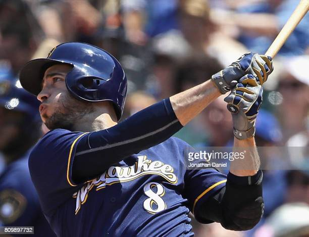 Ryan Braun of the Milwaukee Brewers hits a two run home run in the 3rd inning against the Chicago Cubs at Wrigley Field on July 6 2017 in Chicago...