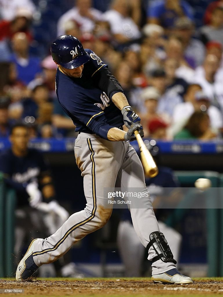 Ryan Braun #8 of the Milwaukee Brewers hits an RBI single against the Philadelphia Phillies during the sixth inning of a MLB game at Citizens Bank Park on June 29, 2015 in Philadelphia, Pennsylvania.