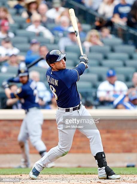Ryan Braun of the Milwaukee Brewers in action against the New York Mets at Citi Field on May 22 2016 in the Flushing neighborhood of the Queens...