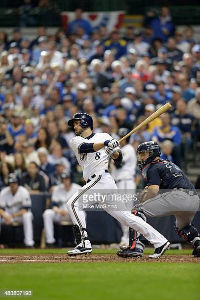 Ryan Braun of the Milwaukee Brewers makes some contact at the plate against the Atlanta Braves during Opening Day at Miller Park on March 31, 2014 in...