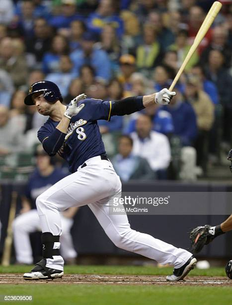 Ryan Braun of the Milwaukee Brewers makes some contact at the plate during the game against the Minnesota Twins at Miller Park on April 20, 2016 in...