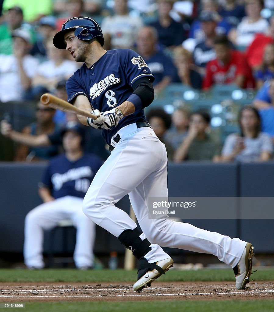 Ryan Braun #8 of the Milwaukee Brewers reaches on an error in the first inning against the Colorado Rockies at Miller Park on August 22, 2016 in Milwaukee, Wisconsin.