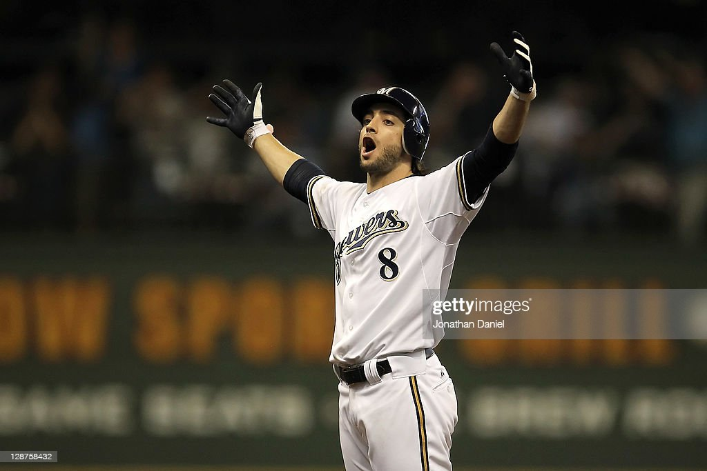 Ryan Braun #8 of the Milwaukee Brewers reacts after hitting a double in the sixth inning off pitcher Ian Kennedy #31 of the Arizona Diamondbacks in Game Five of the National League Division Series at Miller Park on October 7, 2011 in Milwaukee, Wisconsin.