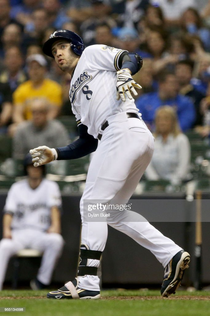 Ryan Braun #8 of the Milwaukee Brewers reacts after losing his bat on a swing in the seventh inning against the Pittsburgh Pirates at Miller Park on May 5, 2018 in Milwaukee, Wisconsin.