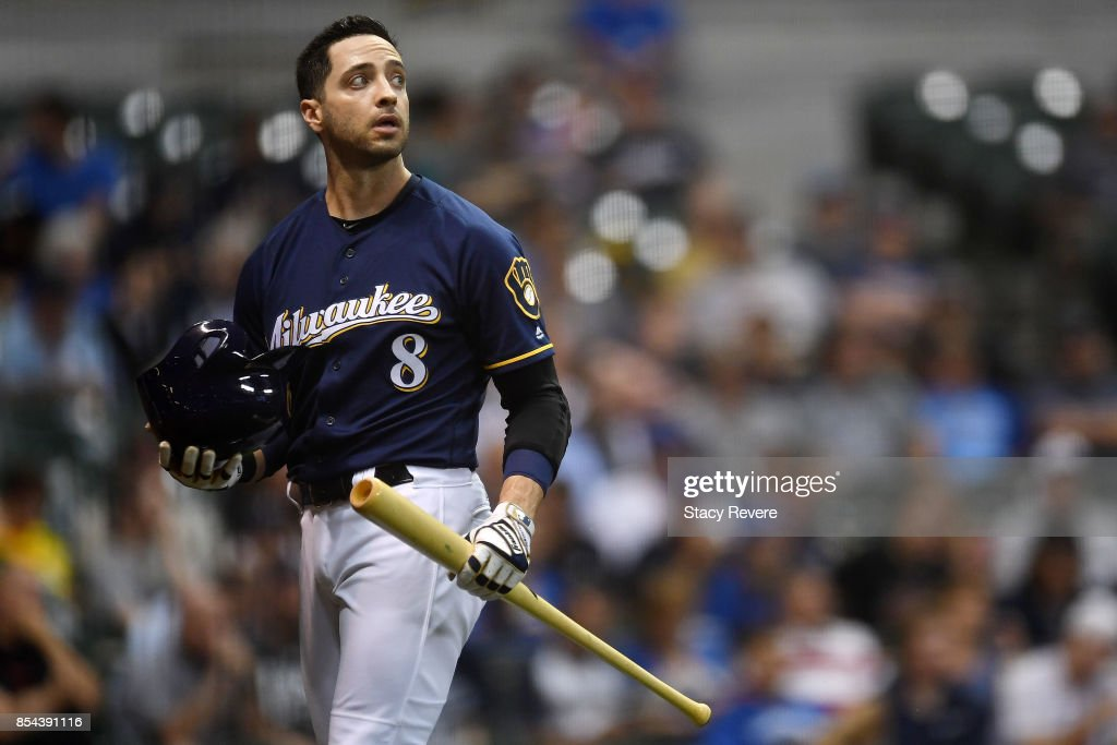 Ryan Braun #8 of the Milwaukee Brewers reacts to a strike out during the first inning against the Cincinnati Reds at Miller Park on September 26, 2017 in Milwaukee, Wisconsin.
