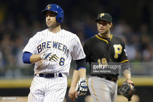 Ryan Braun of the Milwaukee Brewers rounds second base on a single hit by Aramis Ramirez in the bottom of the eighth inning against the Pittsburgh...
