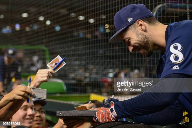 Ryan Braun of the Milwaukee Brewers signs an autograph for fans prior to the MLB game against the Arizona Diamondbacks at Chase Field on May 15 2018...
