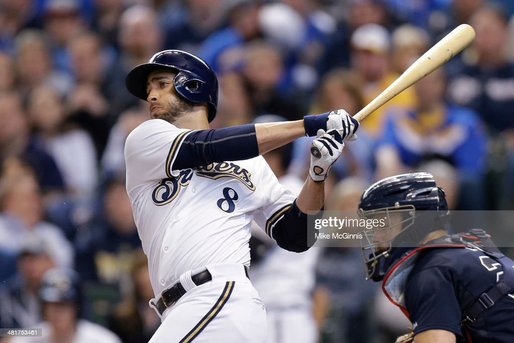 Ryan Braun #8 of the Milwaukee Brewers singles in the bottom of the fourth inning against the Atlanta Braves during Opening Day at Miller Park on March 31, 2014 in Milwaukee, Wisconsin.