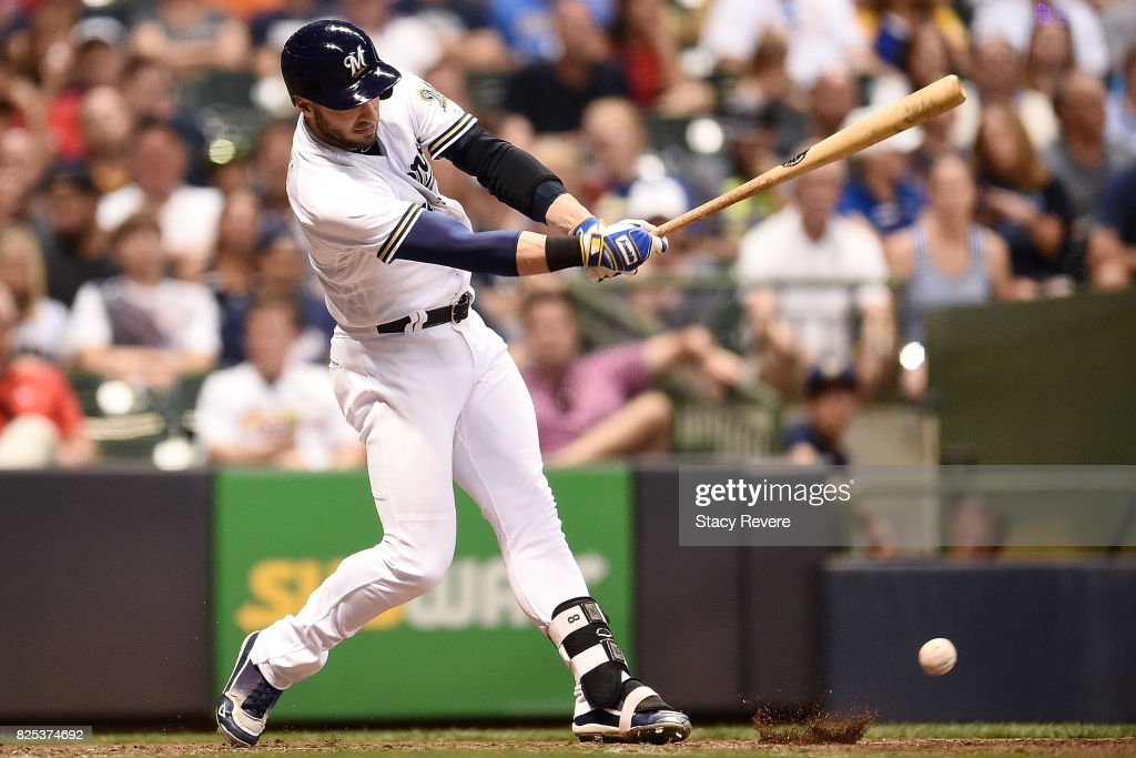 Ryan Braun #8 of the Milwaukee Brewers swings at a pitch during the fifth inning of a game against the St. Louis Cardinals at Miller Park on August 1, 2017 in Milwaukee, Wisconsin.