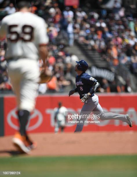 Ryan Braun of the Milwaukee Brewers trots around the bases after hitting a tworun home run off of Andrew Suarez of the San Francisco Giants in the...