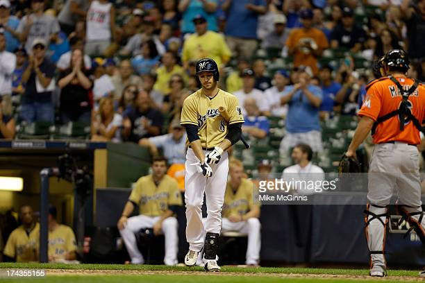Ryan Braun of the Milwaukee Brewers walks to the plate during the game against the Miami Marlins at Miller Park on July 21, 2013 in Milwaukee,...