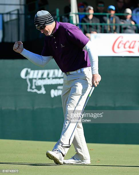 Ryan Brehm celebrates his birdie on the 18th green during the final round of the Chitimacha Louisiana Open presented by NACHER held at Le Triomphe...
