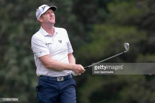Ryan Brehm tees off on the 16th hole during the second round of the Wyndham Championship golf tournament at Sedgefield Country Club in Greensboro, NC...