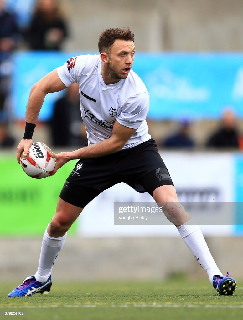 Ryan Brierley #27 of Toronto Wolfpack passes the ball during the second half of a Kingstone Press League 1 match against Oxford RLFC at Lamport Stadium on May 6, 2017 in Toronto, Canada.