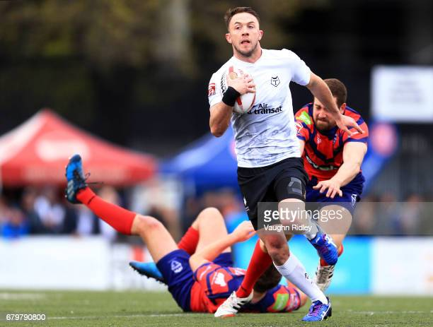 Ryan Brierley of Toronto Wolfpack races through the Oxford RLFC defence during the first half of a Kingstone Press League 1 match at Lamport Stadium...
