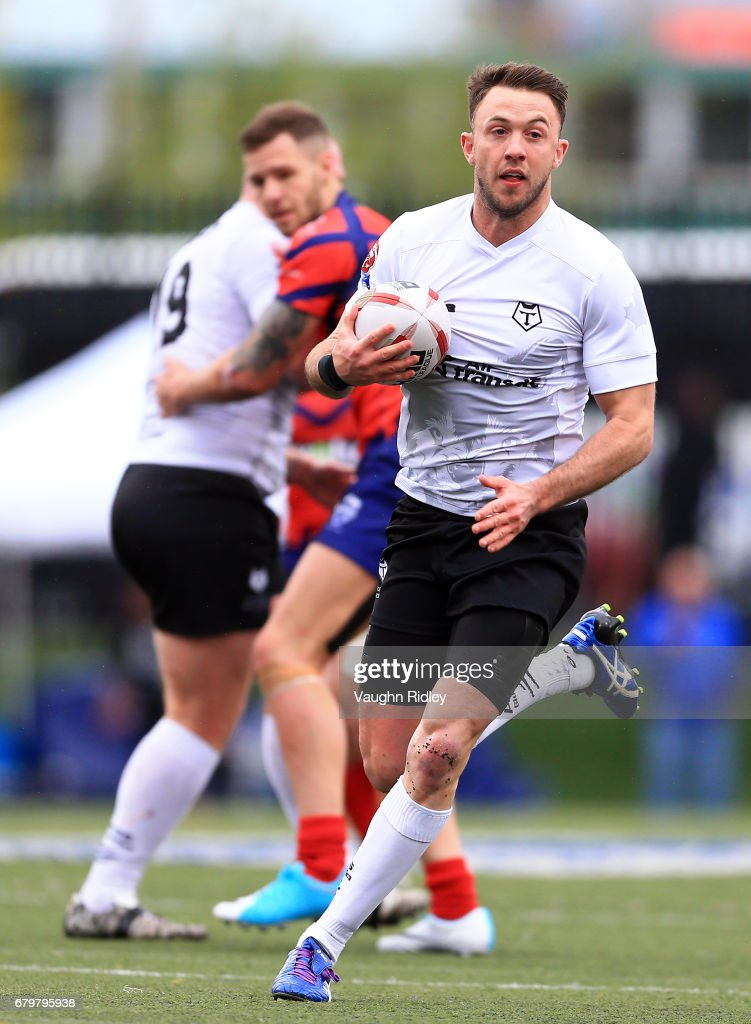 Ryan Brierley #27 of Toronto Wolfpack runs with the ball during the second half of a Kingstone Press League 1 match against Oxford RLFC at Lamport Stadium on May 6, 2017 in Toronto, Canada.