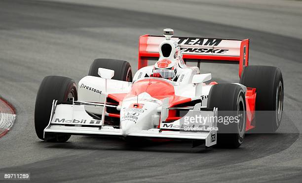 Ryan Briscoe drives the Team Penske Dallara Honda during practice for the IRL IndyCar Series The Honda Indy 200 at the MidOhio Sports Car Course on...