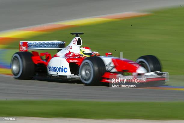 Ryan Briscoe of Australia and the Toyota F1 team drives during Formula One testing at the Ricardo Tormo circuit on November 26, 2003 in Valencia,...