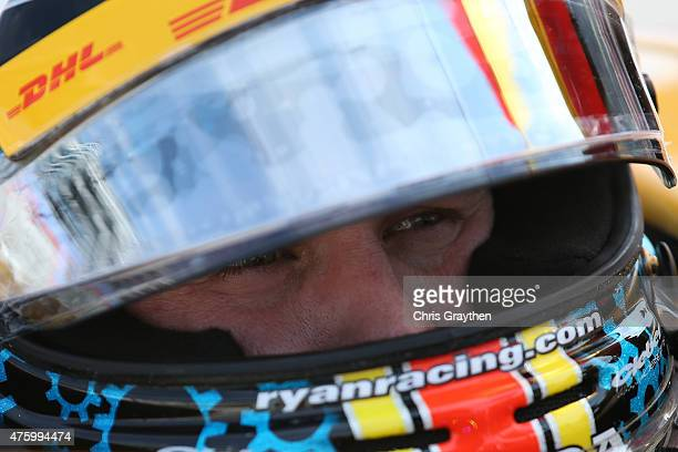 Ryan Briscoe of Australia driver of the Arrow/Lucas Oil Schmidt Peterson Honda sits in his car during practice for the Verizon IndyCar Series...