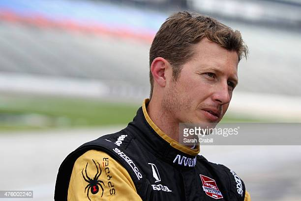 Ryan Briscoe of Australia driver of the Arrow/Lucas Oil Schmidt Peterson Honda stands on pit road during practice for the Verizon IndyCar Series...