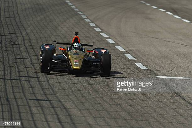 Ryan Briscoe of Australia driver of the Arrow/Lucas Oil Schmidt Peterson Honda drives during NTT DATA qualifying for the Verizon IndyCar Series...