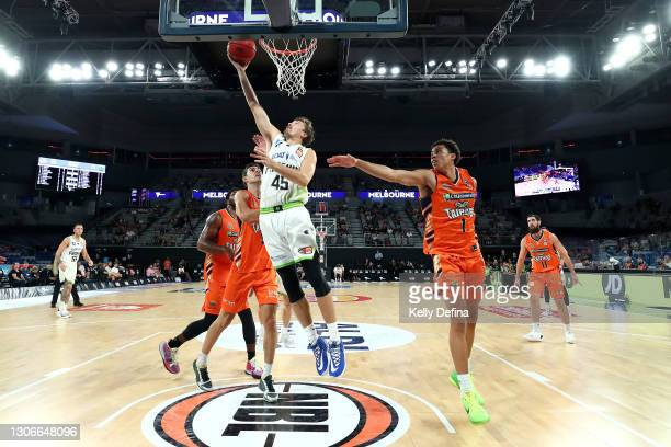 Ryan Broekhoff of the Phoenix drives to the basket during the NBL Cup match between the Cairns Taipans and the South East Melbourne Phoenix at John...
