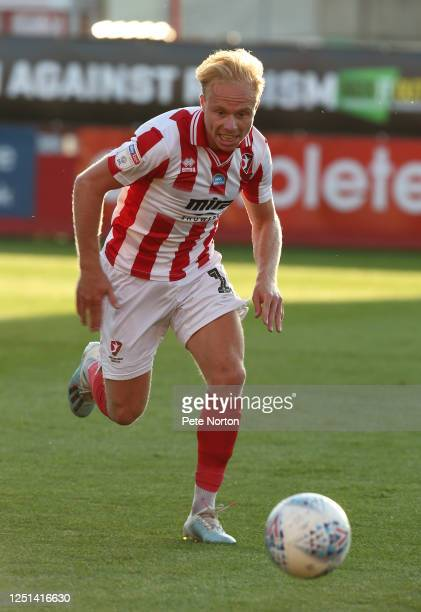 Ryan Broom of Cheltenham Town in action during the Sky Bet League Two Play Off Semifinal 2nd Leg match between Cheltenham Town and Northampton Town...