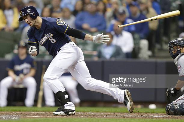 Ryan Bruan of the Milwaukee Brewers hits a single in the first inning against the Minnesota Twins at Miller Park on April 20, 2016 in Milwaukee,...