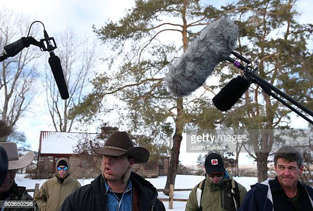 Ryan Bundy a member of an antigovernment militia speaks to members of the media in front of the Malheur National Wildlife Refuge Headquarters on...
