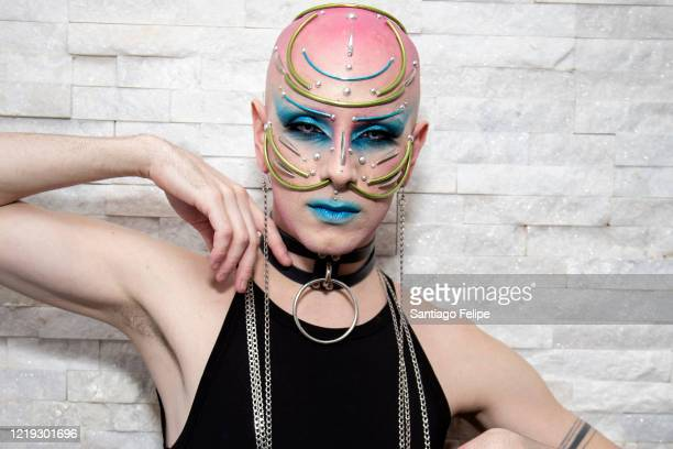Ryan Burke poses for photos while he hosts Susanne Bartsch's 'ONTOP' ONLINE at home via ZOOM on April 16 2020 in New York City