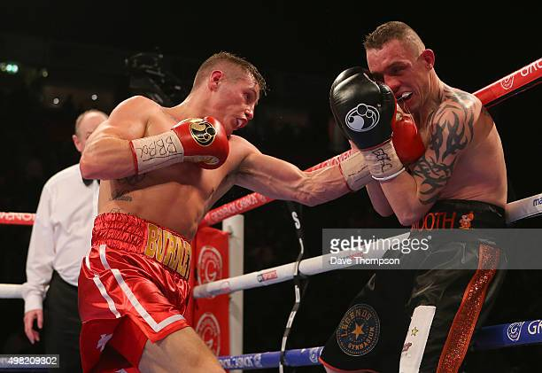Ryan Burnett and Jason Booth during their British Bantamweight bout at the Manchester Arena on November 21, 2015 in Manchester, England.