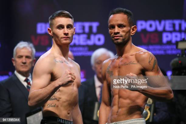 Ryan Burnett and Yonfrez Parejo during the weigh in at the Motorpoint Arena Cardiff