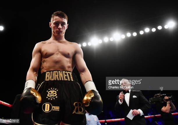 Ryan Burnett of Northern Ireland makes his way towards the ring before his bout with Zhanat Zhakiyanov of Kazakhstan for the IBF WBO and IBO World...
