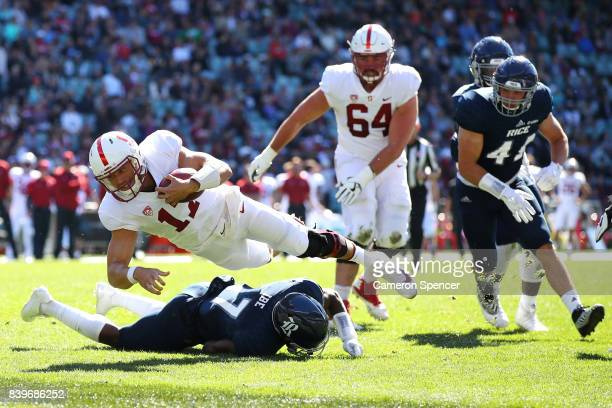 Ryan Burns of Stanford breaks through the Rice defence during the College Football Sydney Cup match between Stanford University and Rice University...