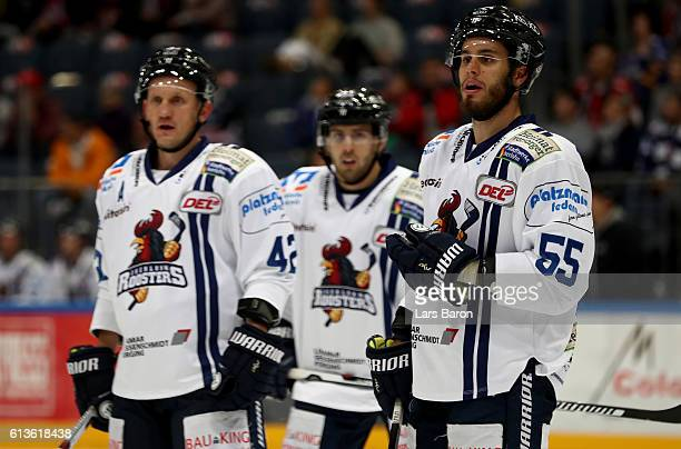 Ryan Button of Iserlohn looks on during the DEL match between Koelner Haie and Iserlohn Roosters at Lanxess Arena on October 9 2016 in Cologne Germany