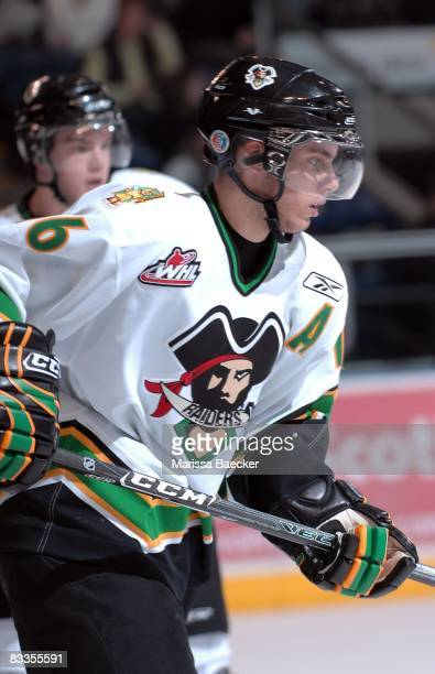 Ryan Button of the Prince Albert Raiders skates against the Kelowna Rockets on October 15 2008 at Prospera Place in Kelowna Canada