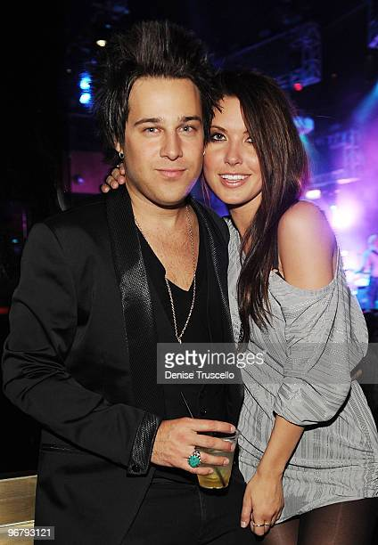 Ryan Cabrera and Audrina Patridge attend the AG Adriano Goldschmied party at Rain Nightclub at The Palms Casino Resort on February 16 2010 in Las...
